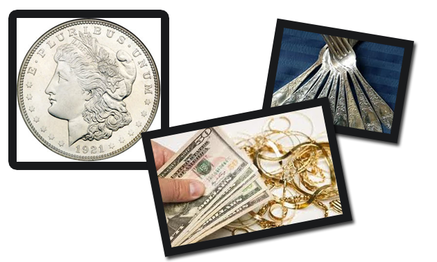 We also buy and sell gold bullion, gold                    jewelry, gold coins, silver bullion,                    silver jewelry, silver flatware, and                    silver coins